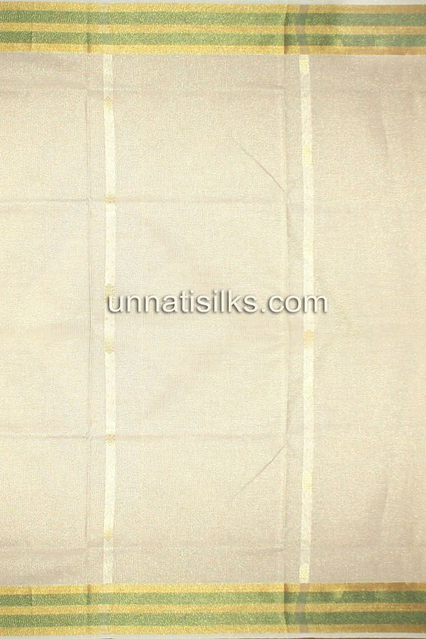 AMS022-Casual cream handloom kerala kasavu tissue saree