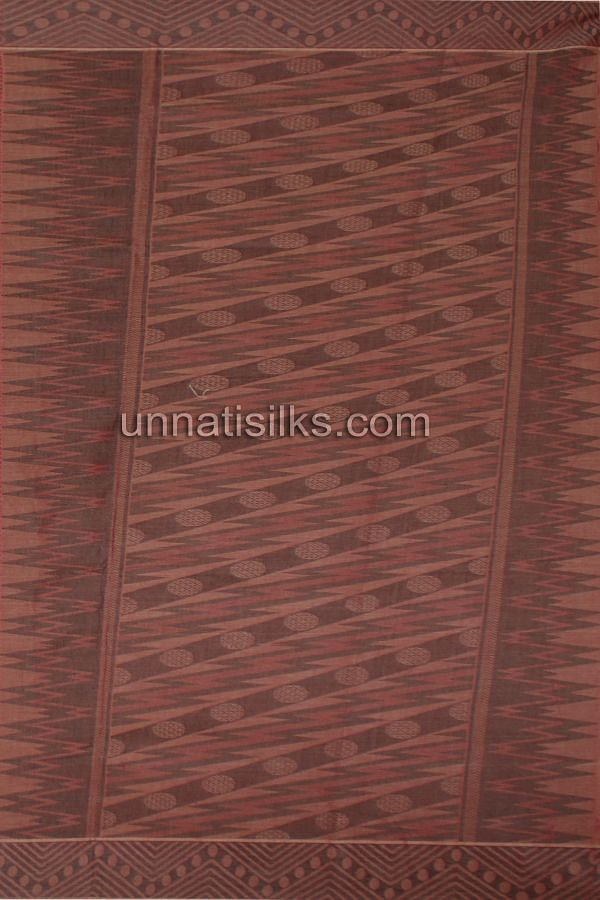 Pallu of AMS026-Exciting office cream and maroon pure handloom Madurai cotton sari