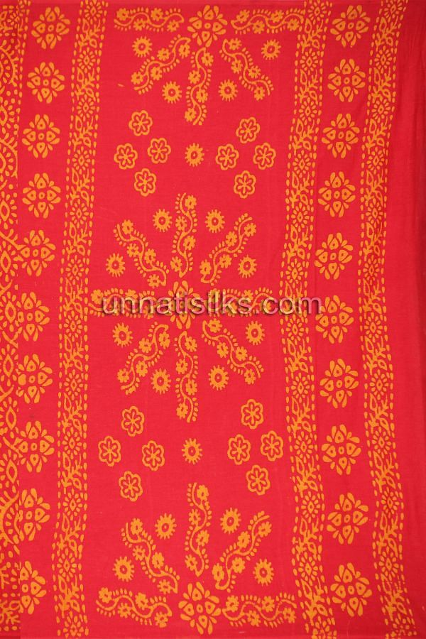 AMS003-Royal sindhuri red pure handloom Batik cotton saree