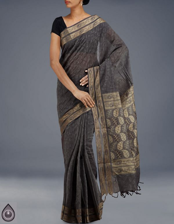 AMS030-Cream-Grey Madurai Cotton Saree