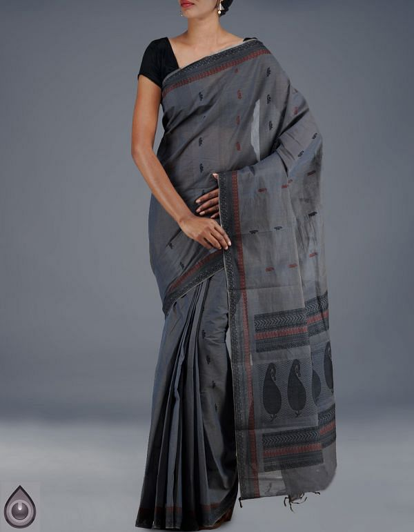 AMS035-Grey pure handloom Assam cotton saree