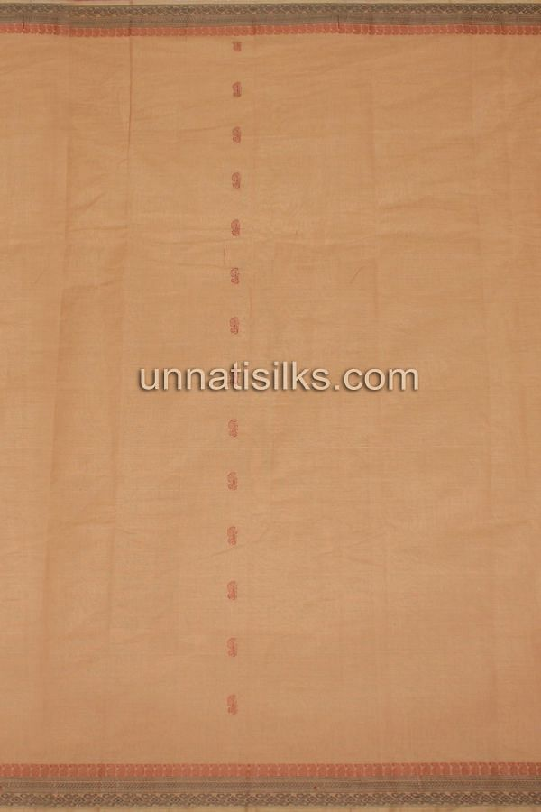 AMS037-Attractive bronze brown pure handloom Assam cotton saree