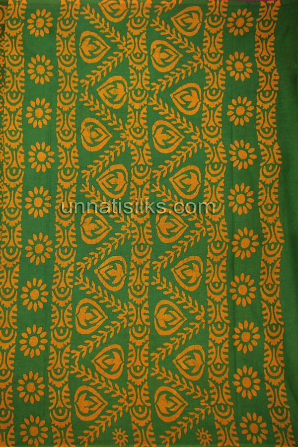AMS006-Blissful office green pure handloom Batik cotton sari