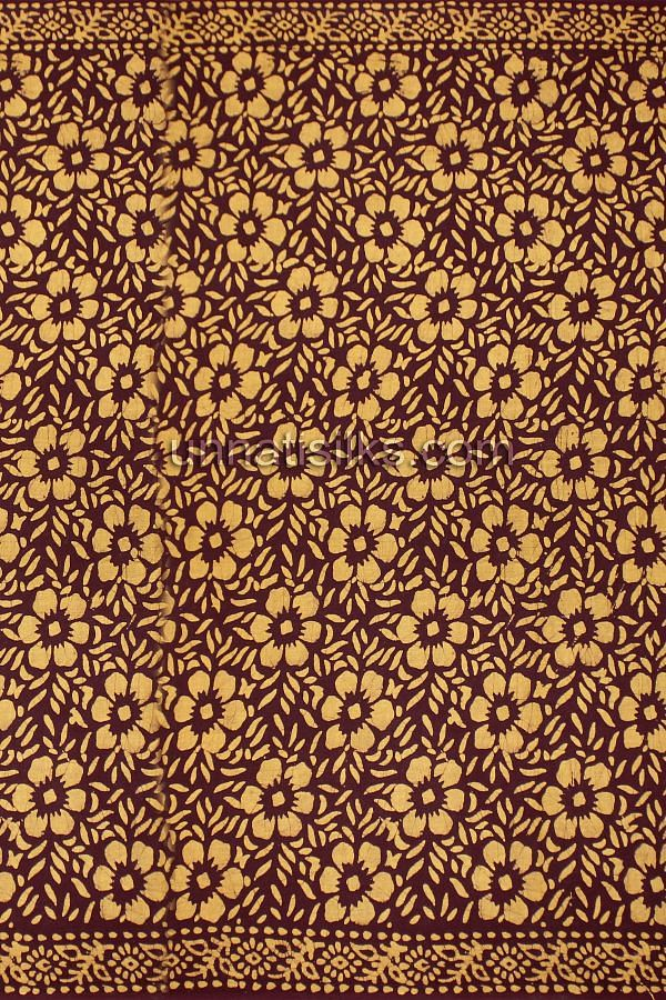 AMS009-Glory casual brown pure handloom Batik cotton sari