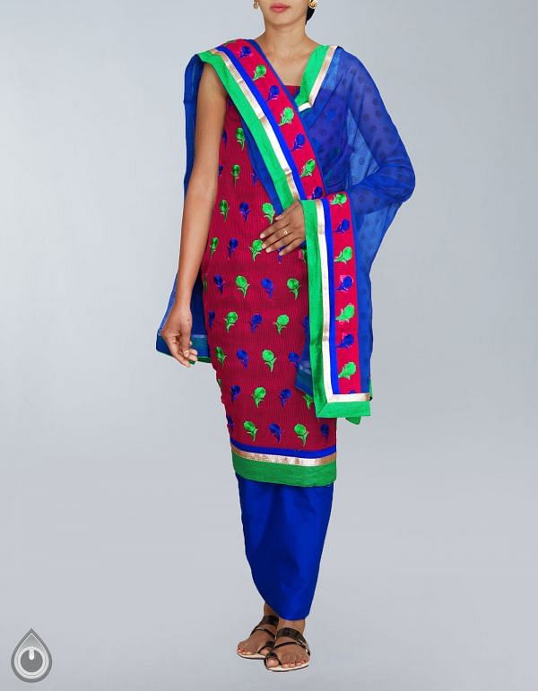 Online Shopping for Unstitched Pink-Blue Banarasi Supernet Salwar Kameez with Embroidery  from  at Unnatisilks.com, India