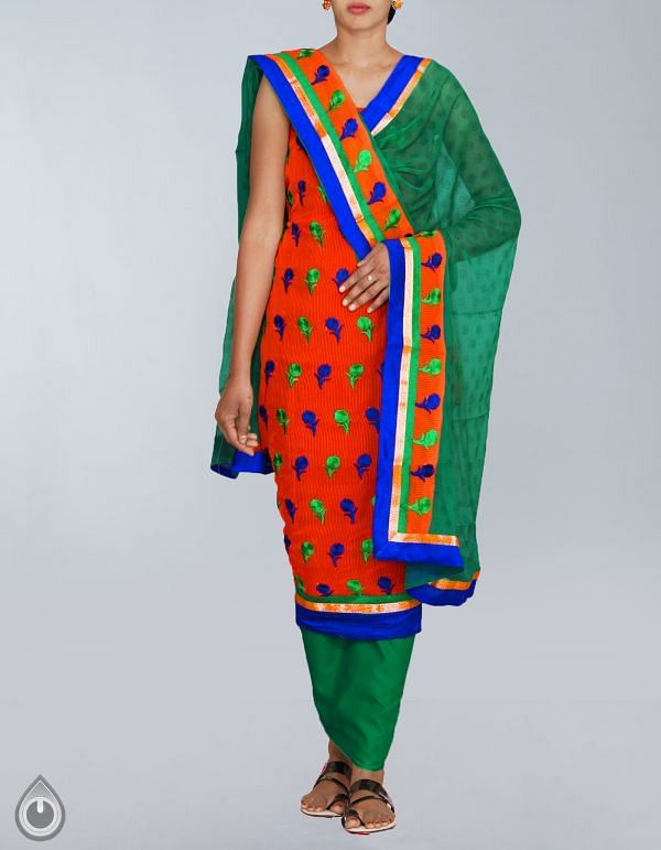 FKP022-Unstitched Orange-Green Banarasi Supernet Chudidar