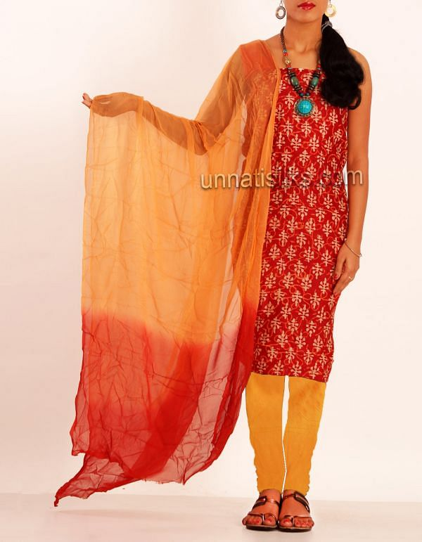 FKP035-Unstitched red-orange chanderi sico salwar kameez