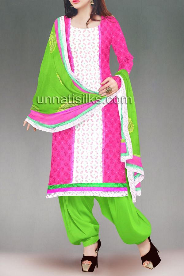 FKP100-Unstitched pink-green chanderi silk salwar kameez