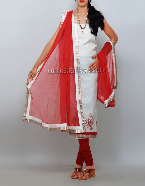 FKP107-Unstitched cream-red chanderi sico salwar kameez
