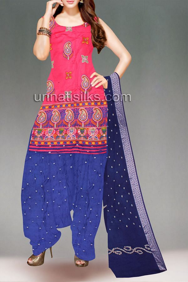 FKP111-Unstitched corporate pink and navy blue bandhani sico salwar kameez