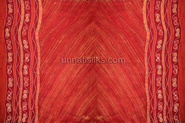 Chunni of FKP119-Unstitched corporate red and orange pure batik cotton salwar kameez