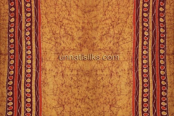 FKP127-Unstitched brown pure batik cotton salwar suit