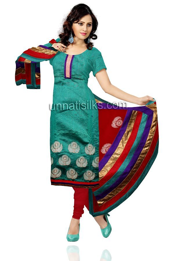 FKP144-Unstitched green and red chanderi silk kameez and cotton salwar with dupatta