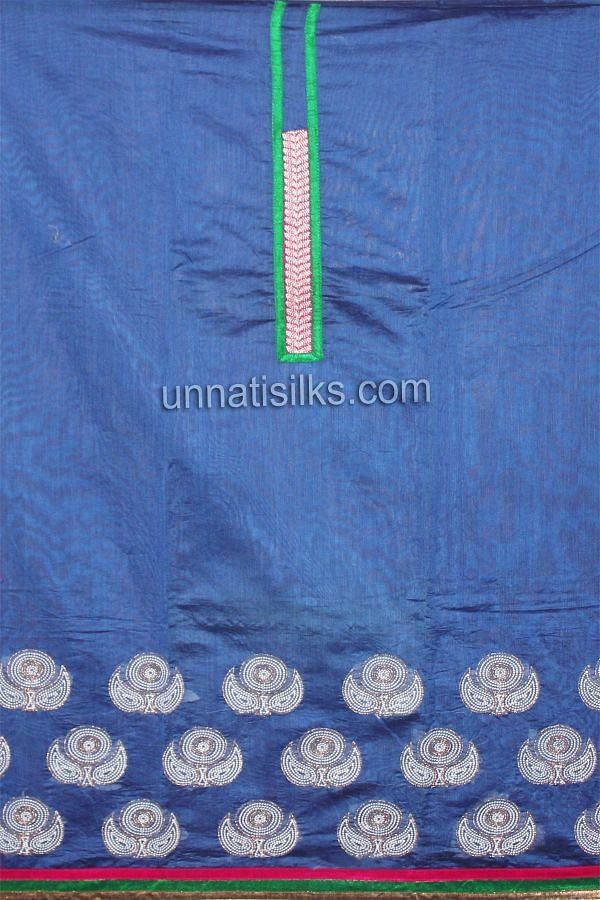Top of FKP145-Unstitched party blue and pink chanderi silk salwar kameez with dupatta