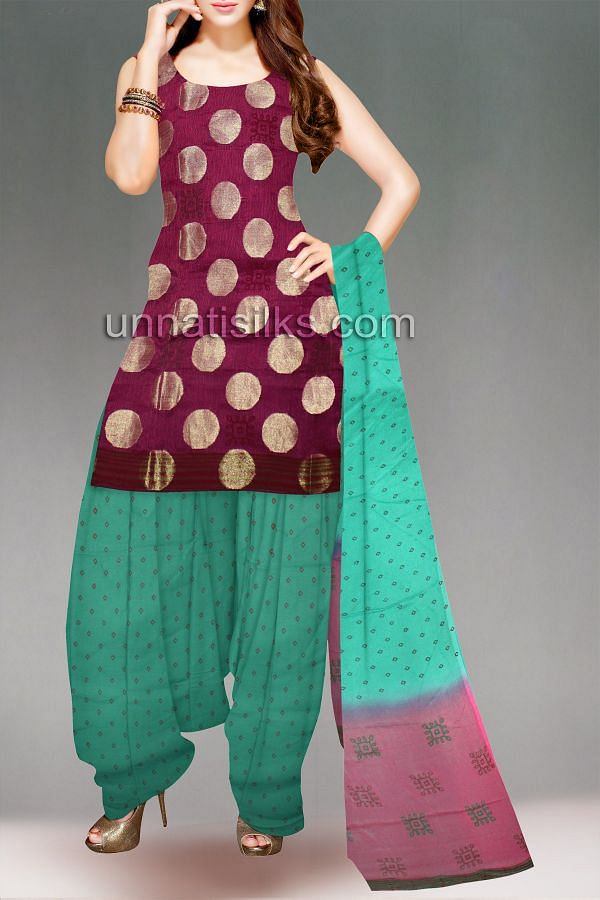 FKP157-Unstitched corporate pink-green supernet chudidar