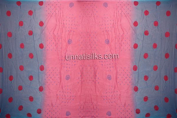 FKP158-Unstitched party azure blue-pink supernet salwar suit