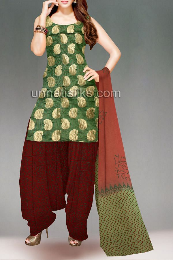 FKP159-Unstitched corporate green-maroon supernet chudidar