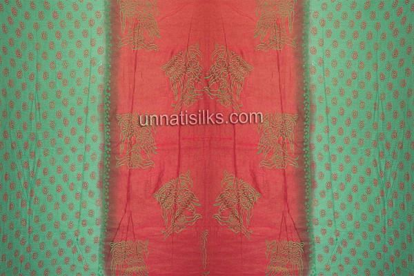 FKP165-Unstitched corporate green-red georgette salwar suit