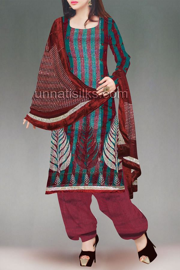 FKP172-Unstitched casual green and maroon chanderi silk salwar kameez