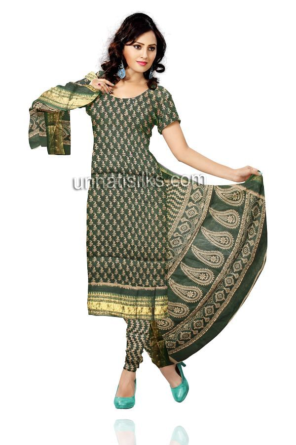 FKP186-Unstitched casual green and cream Mangalgiri handloom cotton salwar kameez