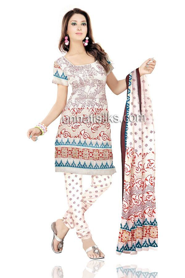FKP202-Unstitched casual white pure handloom cotton salwar kameez