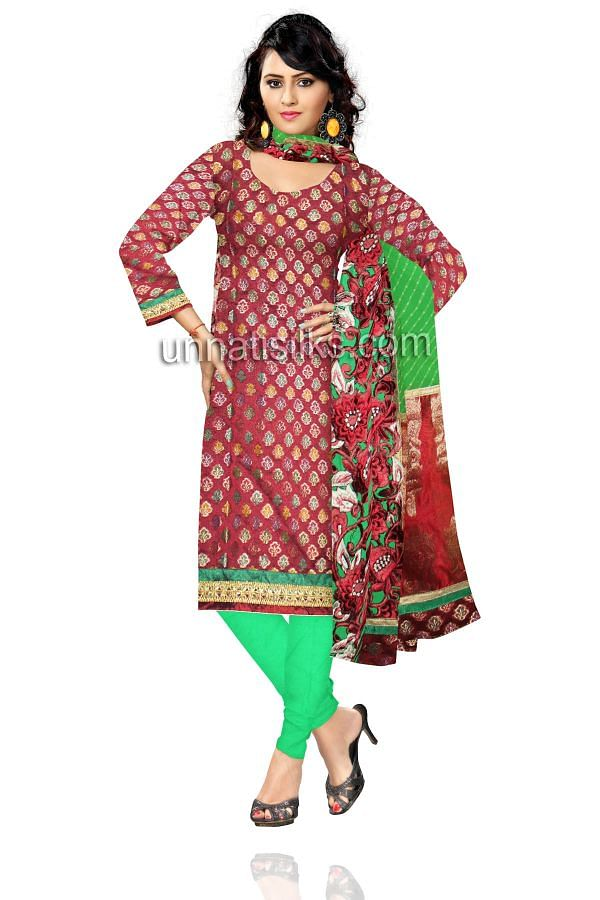 FKP209-Unstitched wedding red and green banarasi brocade salwar kameez