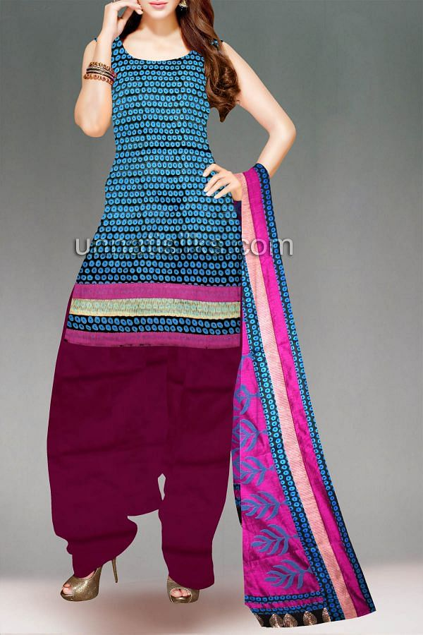 FKP026-Unstitched black-purple handloom cotton salwar kameez