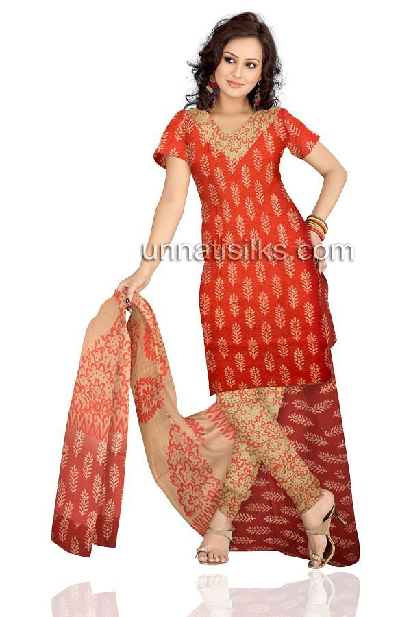 FKP037-Unstitched corporate red and cream chanderi sico salwar kameez