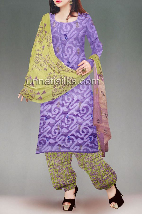 FKP039-Unstitched corporate purple and green banarasi supernet salwar kameez