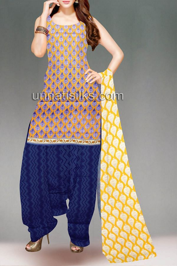 FKP055-Unstitched yellow-blue handloom cotton salwar kameez