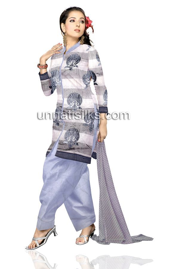 FKP070-Unstitched casual white and grey handloom pure cotton salwar kameez