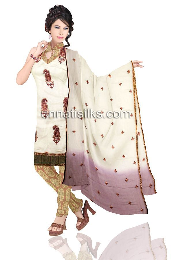 FKP073-Unstitched casual cream and green cotton silk salwar kameez
