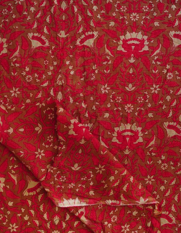 Brown Pure Cotton Floral Printed Blouse Fabric(80CM)