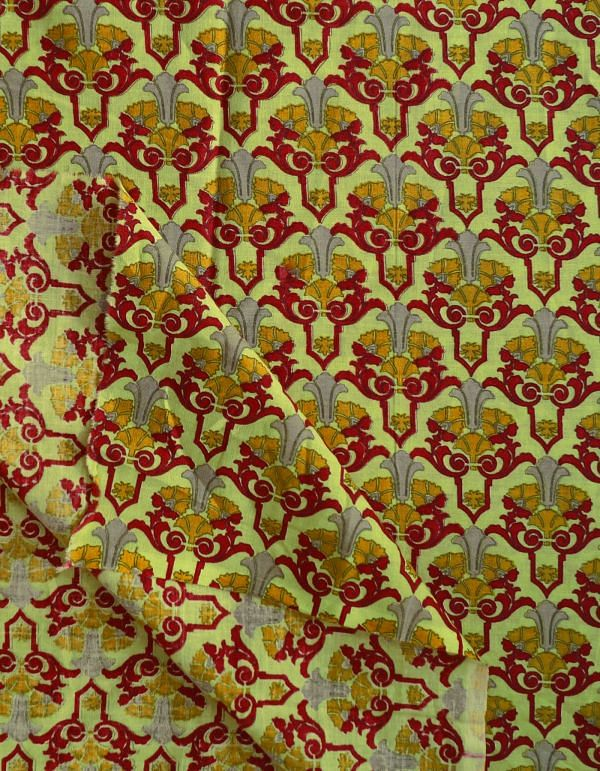 Yellow Pure Cotton Floral Printed Blouse Fabric(80CM)