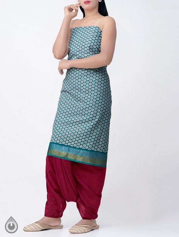 Online Shopping for Green Pure Rajasthani Cotton Kurta Fabric  with Prints from Rajasthan at Unnatisilks.comIndia