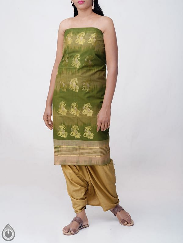 Green Pure Handloom Kanchi Cotton Kurta Fabric (2.30 MTR)- KKR175