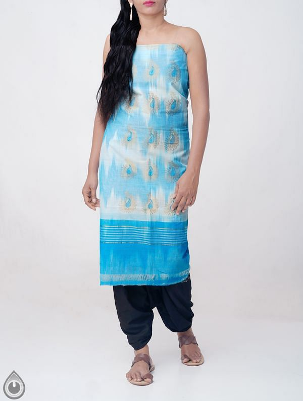 Blue Pure Handloom Kanchi Cotton Kurta Fabric (2.30 MTR)- KKR182