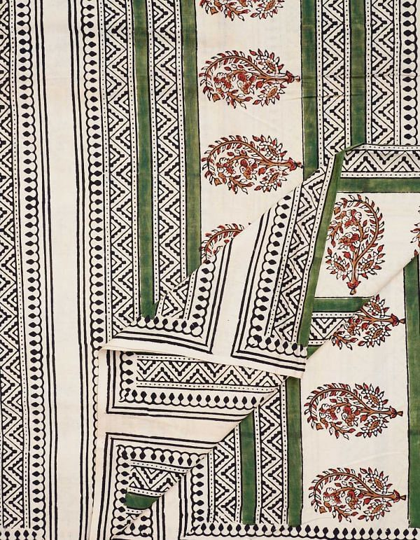 Beige Pure Printed Cotton Fabric (1 MTR)