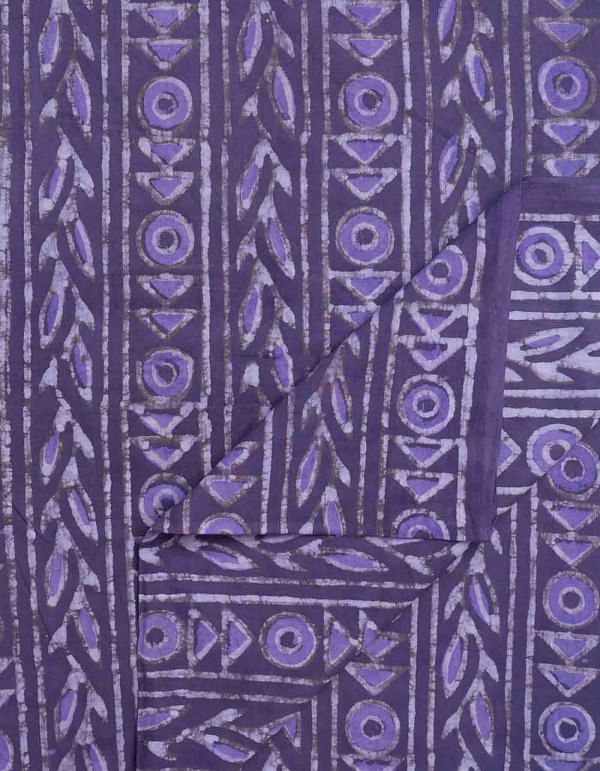 Violet Double Dabu Printed Cotton Fabric (1MTR)