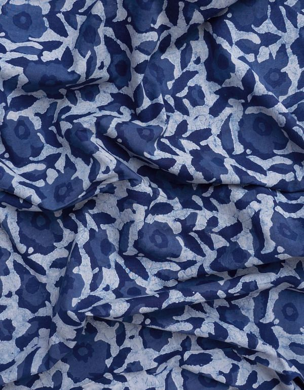 Online Shopping for Indigo Blue Dabu Printed Cotton Fabric with Dabu Prints from Rajasthan at Unnatisilks.comIndia