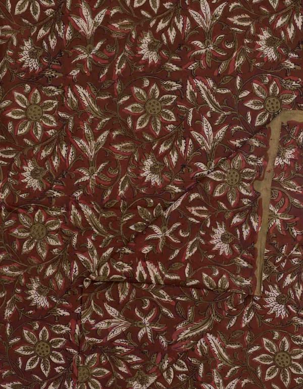 Red Jowta Hand Block Printed Cotton Fabric (1MTR)