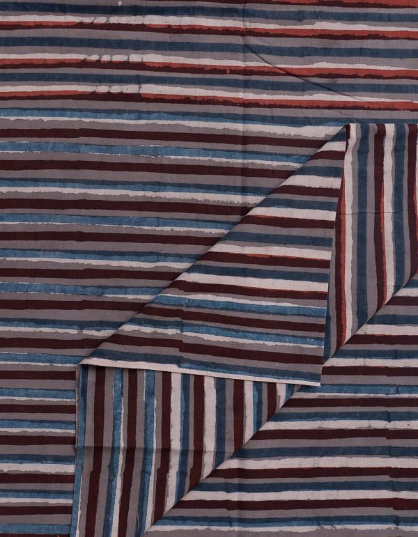 Grey Jowta Hand Block Printed Cotton Fabric (1MTR)