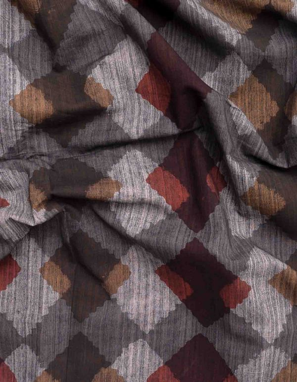 Grey Jowta Hand Block Printed Cotton Fabric (1MTR)- KTR1405