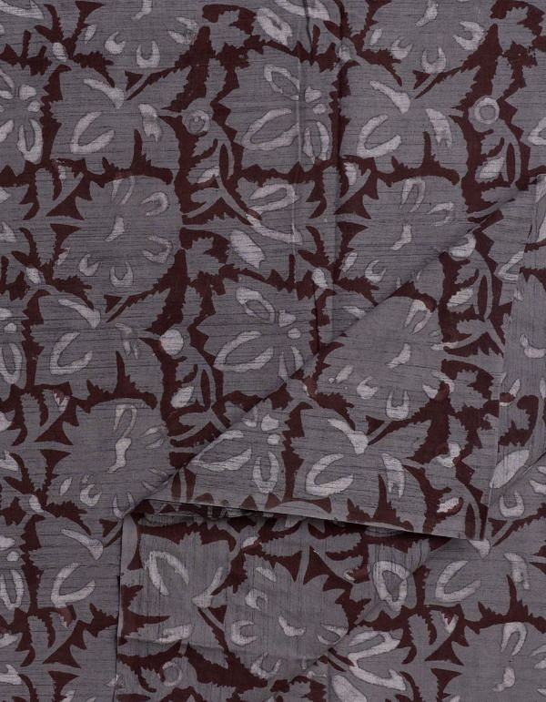 Grey Jowta Hand Block Printed Cotton Fabric (1MTR)- KTR1410