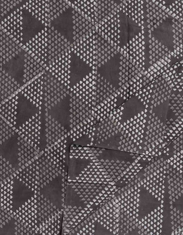 Grey Resist Hand Block Printed Cotton Fabric (1MTR)