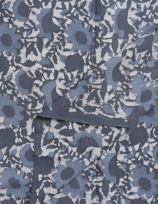 Grey Dabu Printed Cotton Fabric (1MTR)- KTR1424