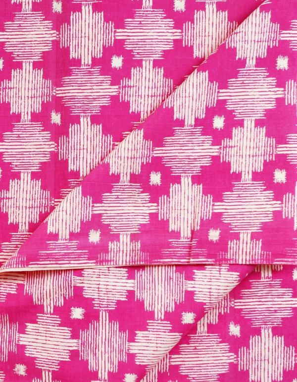 White-Pink Pure Cotton Printed Fabric(1MTR)
