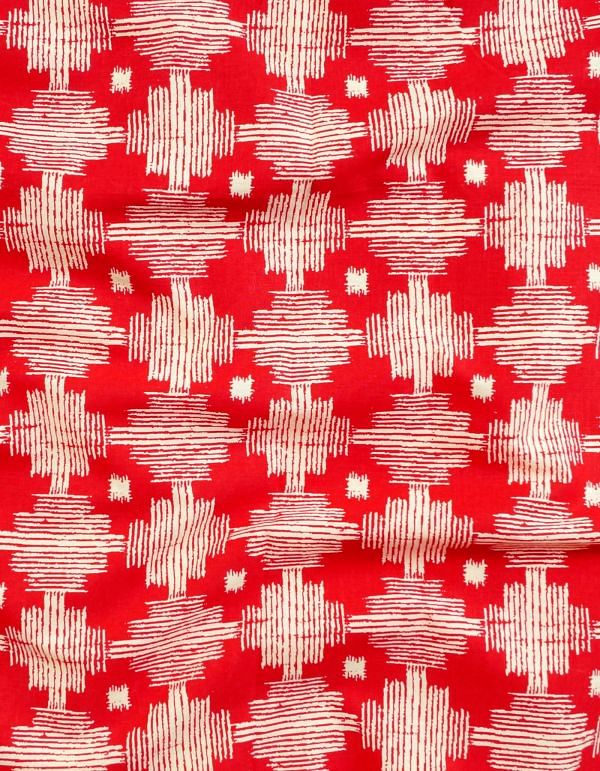 Red Pure Cotton Printed Fabric(1MTR)