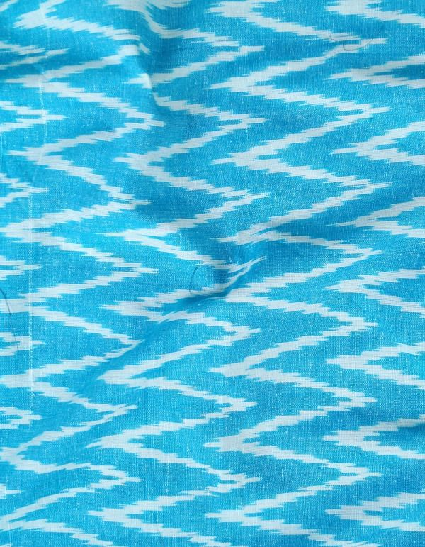 Online Shopping for Blue Pure Handloom Pochampally Cotton Ikat Fabric(1MTR) with tie-dye from Andhra Pradesh at Unnatisilks.com, India