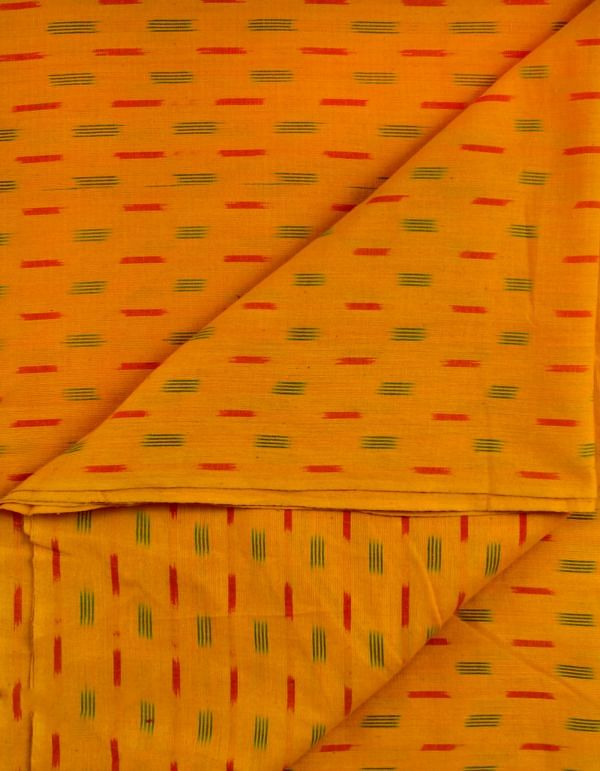 Yellow Pure Handloom Pochampally Cotton Ikat Fabric(1MTR)